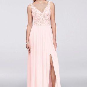 V-Neck Lace and Mesh Bridesmaids Dress